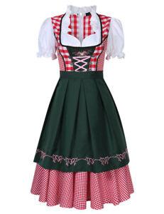 Women's German Bavarian Dirndl Dress Apron Oktoberfest Beer Maid Costume