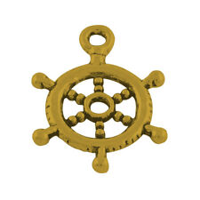 10 Ship Wheel Charms Pendants Antiqued Gold Nautical Charms Ship Charms Helm