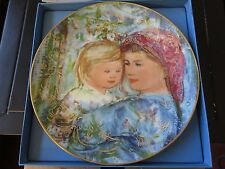 """Edna Hibel , Mother's Day Plate , 1991 , Michele and Anna , 8 1/2"""" , Gold Trim"""