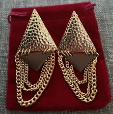 Gold Wedding Birthday Beautiful Tassle Dangle Chain Earring Earrings
