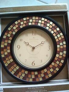 "Bronze Mosaic Wall Clock 10.25"" New Copper Gold Oil Rubbed glass quartz"