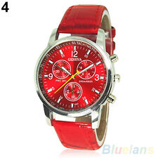 Mens Womens Antique Faux Leather Band Quartz Analog Dress Bracelet Wrist Watch