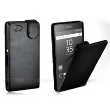 BLACK FLIP Premium Leather Case Cover For SONY ERICSSON XPERIA Z5 COMPACT