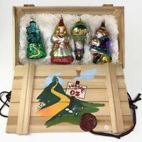 Komozja Polonaise The Wizard of Oz Glass Ornament 4 pc Set Kurt Adler Wood Crate