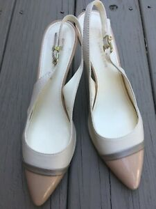 ANNE KLEIN Yate Women's Leather Cream/Beige Cap Toe High Heel Sling Shoes sz 8 M