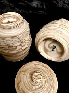 Japanese Pottery Glazed Sugar BOWL Sake Bottle - Signed to Base - Set of 2