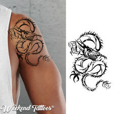 Black Chinese Dragon Ninja Tattoo Temporary for Women and Men Cosplay Halloween