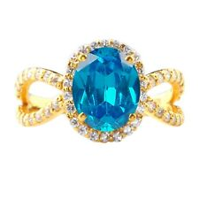 Real 14KT Yellow Gold 2.20 Carat Natural Blue Topaz EGL Certified Diamond Ring