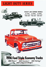 1956 Ford F-100 Advertising Poster - Beautiful Vintage Art