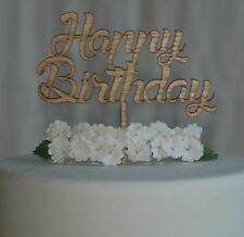 Wooden Happy Birthday Cake Topper, Laser Cut from Quality Material Cake Decor #3