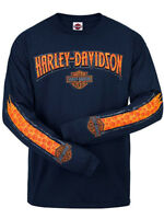 Harley-Davidson Mens Skull Stripe Willie G Pattern Navy Blue Long Sleeve T-Shirt