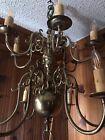 Vintage 12 Arm  2 Tier Dutch Brass Chandelier Williamsburg