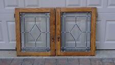PAIR ANTIQUE OAK CABINET DOORS LEADED STAINED GLASS WINDOWS IN OAK FRAMES,NICE