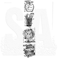Tim Holtz ~ MINI SCHOOLHOUSE ~ Sketch Cling Stamp Set Apple Pencils Globe Books
