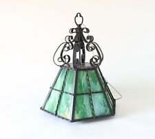 Arts and Crafts Green Stained Glass Pendant Light. Vintage Mid Century Light
