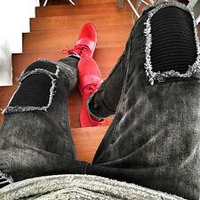 Boys Mens Fashion Black ripped Skinny Stretch Biker Zipper Jeans Pant Trousers