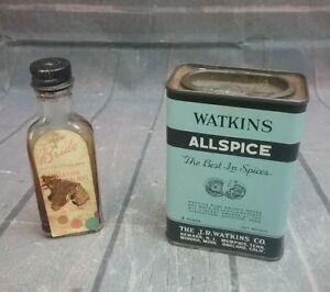 Vintage Watkins Allspice Tin 3 oz. The J. R. Watkins Co. &  Bride Extract Bottle
