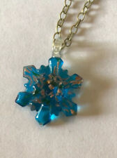 Bronze-tone Pendant with Large Blue Glass Snowflake Statement Necklace 605