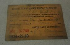 Rare 1930 State of Oregon Resident Anglers Fishing License