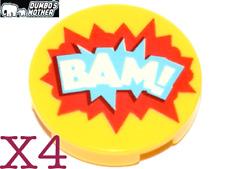 LEGO 4) Bam Tiles Printed 2x2 Round Tile DC Comics  NEW