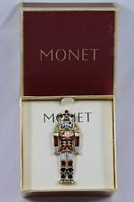MONET Signed Christmas Nutcracker Soldier Figural Gold Tone Brooch Pin