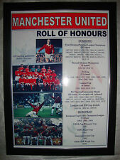 Manchester United club history roll of honours - framed print