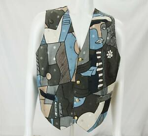 VTG Fiona Italy Picasso Allover Print Button Up Silk Vest Gray/Blue Men's XL