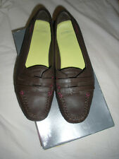 LACOSTE LEATHER ALBANY SHOES, SIZE 40/UK 7, BROWN MOCCASINS WITH PLUM  STITCHING