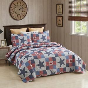 3-PC Quilt Set Patriotic Americana Stars and Plaid Patchwork Blanket w/ 2 Shams