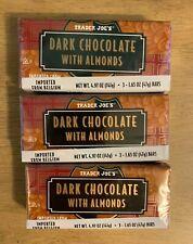 9 TRADER JOES Belgium DARK CHOCOLATE w/ ALMONDS Candy Bars 1.65 OZ/Pack