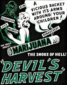 Devils Harvest Vintage Cannabis Marijuana Movie Poster A4 Art Print