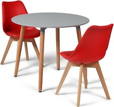 Toulouse Tulip Eiffel Style Dining Set 90cms Round Grey Table & 2 Red Chairs