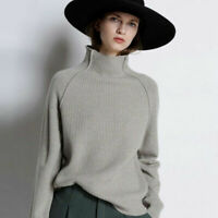 Luxury Women Cashmere Knitwear Jumper Turtleneck Pullover Loose Sweater Tops