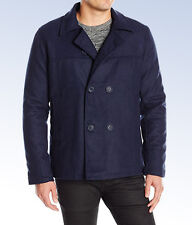 BRAVE SOUL Men's Men's Carlos Double Breasted Peacoat Jacket - NAVY -  Large