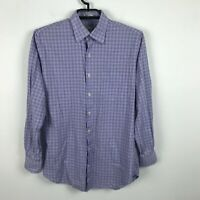 Peter Millar Mens Purple Plaid Button Up Dress Shirt Single Pocket Size Medium M