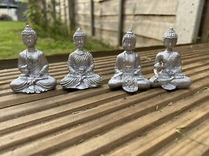 Great Set Of 4 Sliver Resin Mini Thai Buddha Ornaments