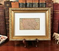 Framed Original 1886 Antique Map IOWA Davenport Waterloo Ames Sioux City Dubuque