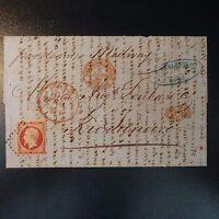 NAPOLÉON N°17 LETTRE COVER CAD ROUGE BUREAU MARITIME HAVRE RIO DE JANEIRO BRÉSIL