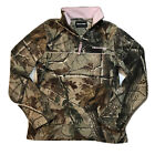 Realtree Women's Sz Small 4-6 1/4 Zip Camouflage Hunting Pink Fleece Pullover