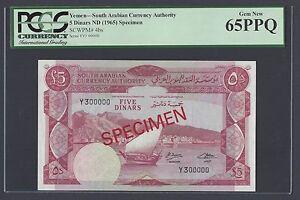 Yemen South Arabia 5 Pounds ND(1965) P4bs Specimen Uncirculated Grade 65