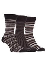 Farah - 3 Pairs Mens Breathable Soft Top Argyle Striped Cotton Business Socks 6-11 UK Cs115brn (striped)