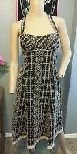 Nanette Lepore Black Tan Floral Vines Embroidered Cotton Blend Dress S 4