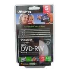 5x MEMOREX Mini DVD-RW 30 Min. 1,4GB (8cm) Rohlinge für CAMCORDER rewritable