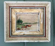 "Western Minature ""Primitive"" Painting ""Cattle @ Streams Edge"" Folk art Look!"