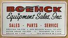 ORIGINAL Vintage 1960s BOEHCK EQUIPMENT SALES Decal Sticker Houston Dallas TX