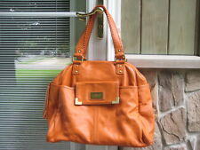 AMERICANA BY SHARIF Over-Sized Pebbled Leather Satchel (Pumpkin Color)
