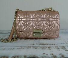 MICHAEL KORS Sloan Small Floral Quilted Leather Shoulder Bag Metallic Rose/Gold