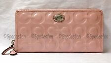 Coach 49962 Peyton Op Art Embossed Patent Accordion Zip Wallet PINK TULLE NWT