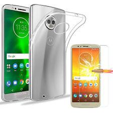 For Motorola Moto E5 / G6 Play Crystal Clear Slim TPU Gel Case + Tempered Glass