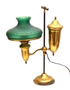 """ANTIQUE BRASS STUDENT BANKERS OIL LAMP WITH 10"""" DARK GREEN FROSTED SHADE"""